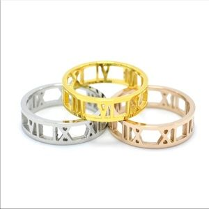 Jewelry - Roman Numeral Cut Out Ring in Rose, Gold & Silver